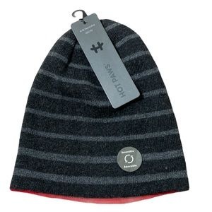 Hot Paws Hat Reversible Gray And Red 8-16 Years
